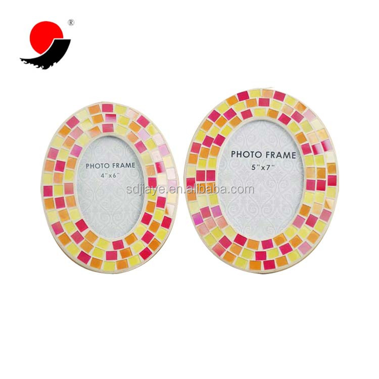 Wholesale Handicraft Red Yellow Mosaic Glass Oval Shape Photo Picture Frame
