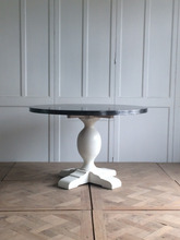 antique furniture zinc top wooden leg dining table