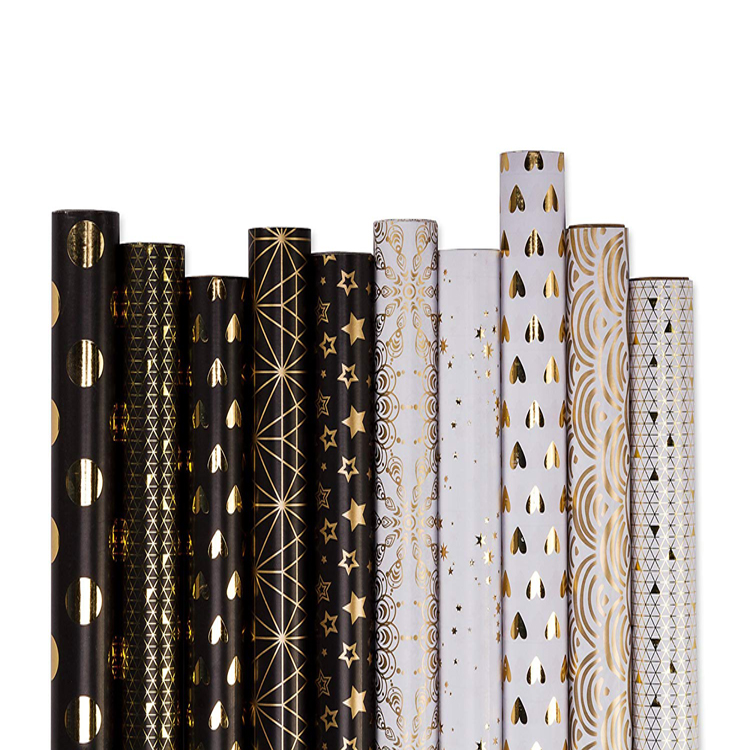 New Product Gold Foil Pattern Printed Black &amp; White Gift Wrapping <strong>Paper</strong>
