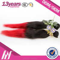 Different Color Can Dye Virgin Red Indian Remy Hair Weave