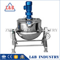 stainless steel industrial jacketed cooking kettle with an agitator