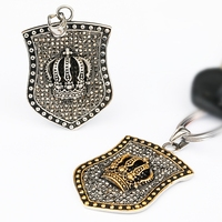 3d metal shield shape souvenir gold crown keychain stainless steel jewelry