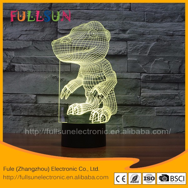 3d effect led acrylic night light lamp with dianosaur illusion mood light for home deco lamp FS-3046