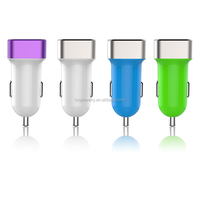 Newest 5V 2.4A USB Car Charger Led Light dual Ports USB Universal Mini Adapter