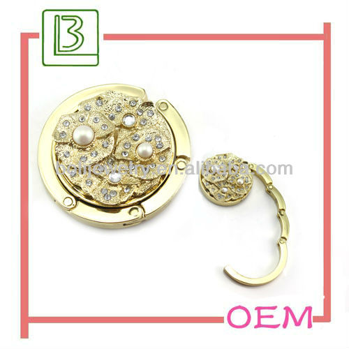 New design fashionable novelty rhinestone bag hanger hook