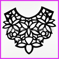 Black laser cuttiing collar pattern neck design of blouse WNL165