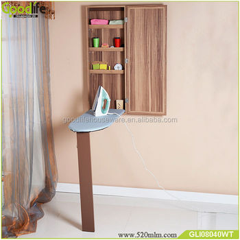 Mirrored foldable Ironing board storage cabinet