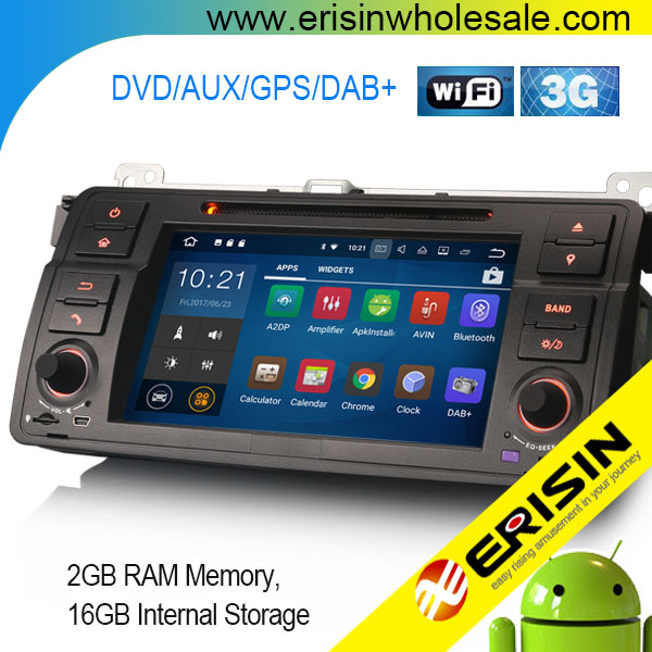 "Erisin ES3446B 7"" Android 7.1 Car GPS Navigation DAB+ DVR System WiFi for BMW E46 M3"
