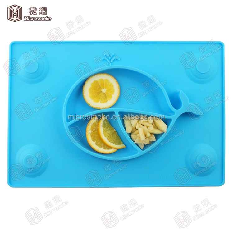 Suction To Table Placemat Square Shape Whale Kids Silicone slate Placemat With 4 Scuker cap Wholesale Price