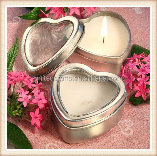 50 Light For Love Collection Heart Candle Favor Tins Wedding Favors