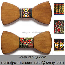 wholesale handmade wooden/wood bow tie for men with ribbon trim