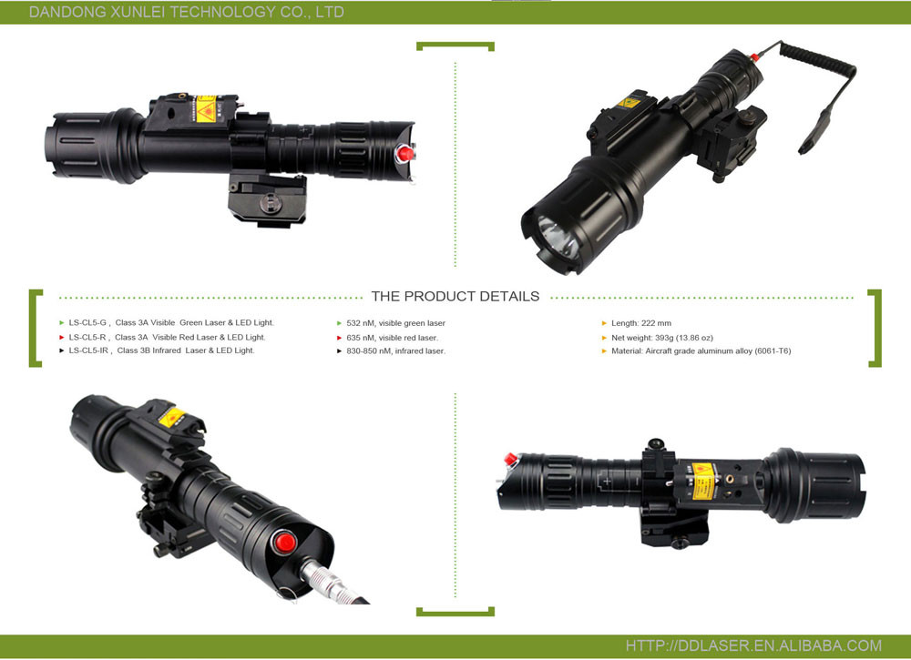 Tactical rifle long distance green laser sight and 500lumen T6 hunting flashlight combo