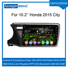 Wholesale Android Car Video Player 10.2INCH For Honda City 2015 Car GPS Navigation With HD Screen,Playstore,Wifi,Mirror Link