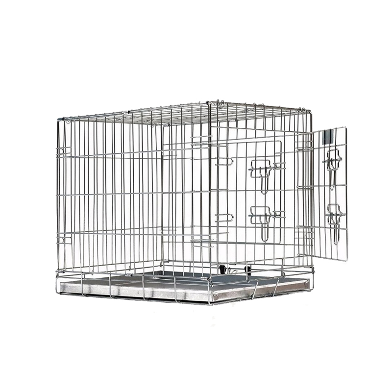 "High Performance 42"" Dog Crate Double-Doors Silver Folding Pet Cage with Metal Wires"