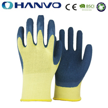 HANVO 13 gauge cotton coated blue latex glove /Industrial gloves good grip in dry enviroment