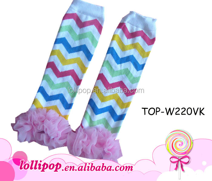 Wholesale rainbow chevron pink chiffon leg warmers baby for ballet