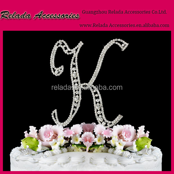 Wholesale Princess birthday party cake acceosry custom -made letter and number crystal rhinestone cake topper for cake shop