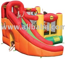 Ten activities in one; slide, jump, crawl, climb, ball-ball pool (includes 50 balls), tunnel, obstacle, toss, dart, basket