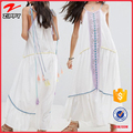 2017 summer Embroidered Mirror Detail Scoop neck Tassel Ties long boho Maxi white Dress