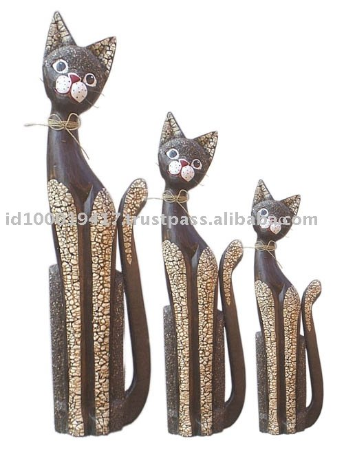 Sitting Cat Wood Carving Set