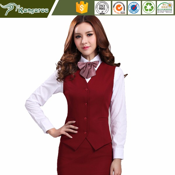 KU037 Carmy Receptionist Captain Uniform Hotel Front Office Chinese Collar