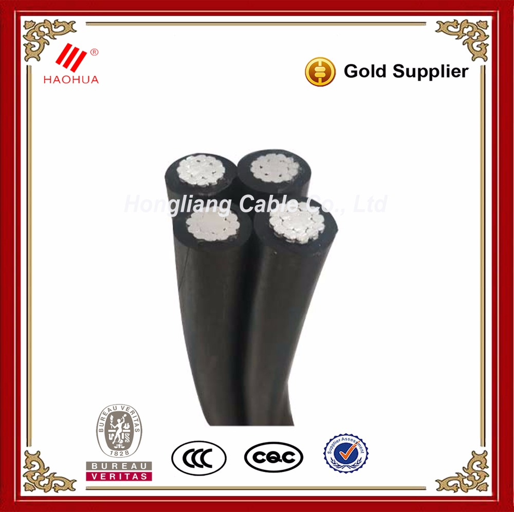 No.0612- Aerial bundled low voltage 1kV XLPE insulated overhead 4x35mm2 electric cable aluminum 16mm 50 aluminium cable ABC