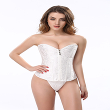 Women Sexy White Plain Lace Up Corset Waist Trainer with Zipper
