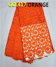 whosale african cord lace High quality guipure cord lace polyester lace in orange