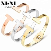 Fashion Accessories Women Stainless Steel T Open Bangle Spring Bracelet