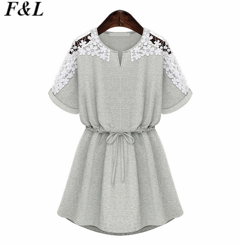 Summer Cotton Dress 2015 Fashion Loose T Shirt Dress Vestidos Plus Size Women Clothing Short Casual Dress Vestido De Renda