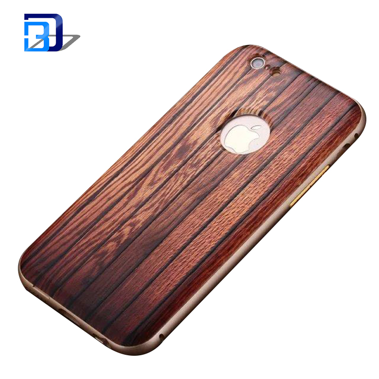 Mobile accessories Wood Pattern 3D Relief PC Hard Back Cover +Aluminium Metal Bumper Case for iPhone 5 6 6s Plus factory price