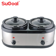 Sugoal kitchen appliances 2 in 1 round twins double electric slow cooker