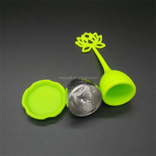 Food grade silicone & stainless steel lotus shape Tea Infuser Steeper for tea brewing