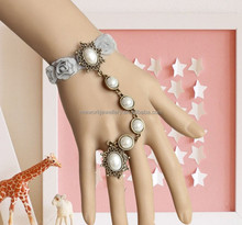 Fashion pearls gothic opal rhinestones chain hand harness bracelets
