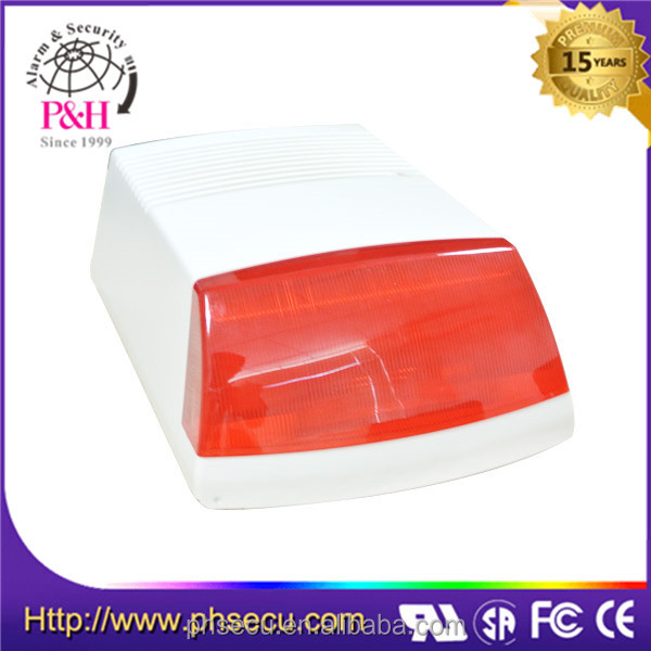 External outdoor alarm strobe siren for security alarm system