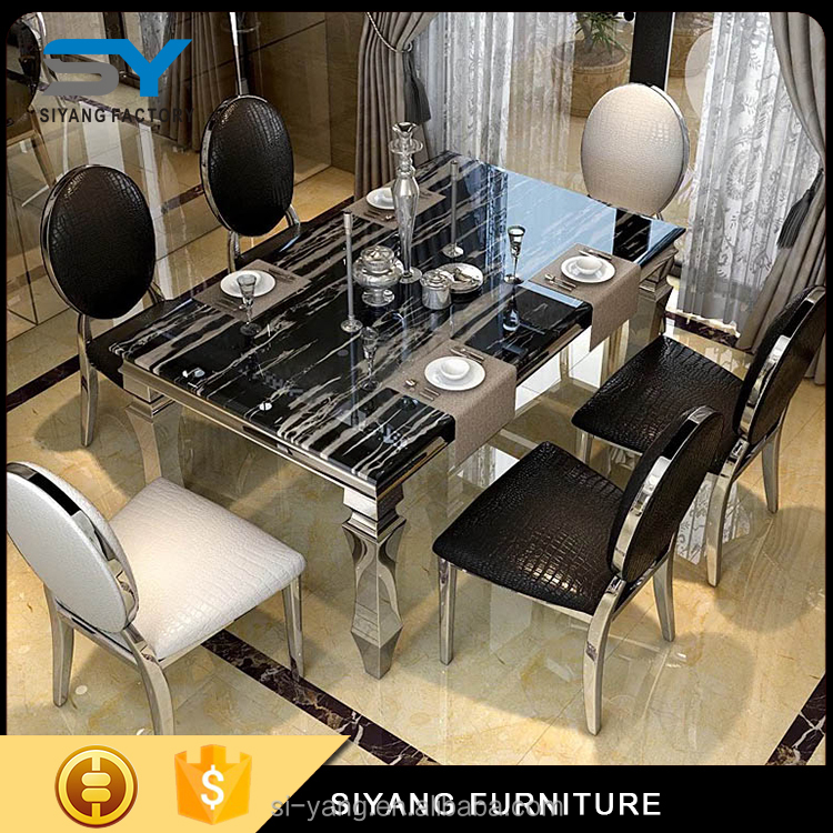 2017 cream marble top stainless steel dinner table dining charis for sale CT004