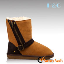 HC-707 2014 fashion high quality TPR buckles cow suede leather women boots sale