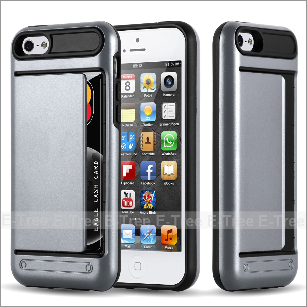 High Quality with Card Slot Armour Phone Case for Apple iPhone 5 5s,For iPhone 5 Case