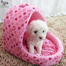 Luxury Pink Princess Puppy Bed House Soft Fleece Slipper Pet Bed