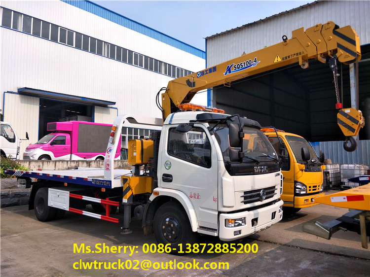 Good quality DFAC road rescue wrecker truck with crane exported to Ghana