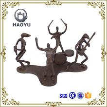Metal art and crafts bronze music theme musician statues rock band figurines for home decoration