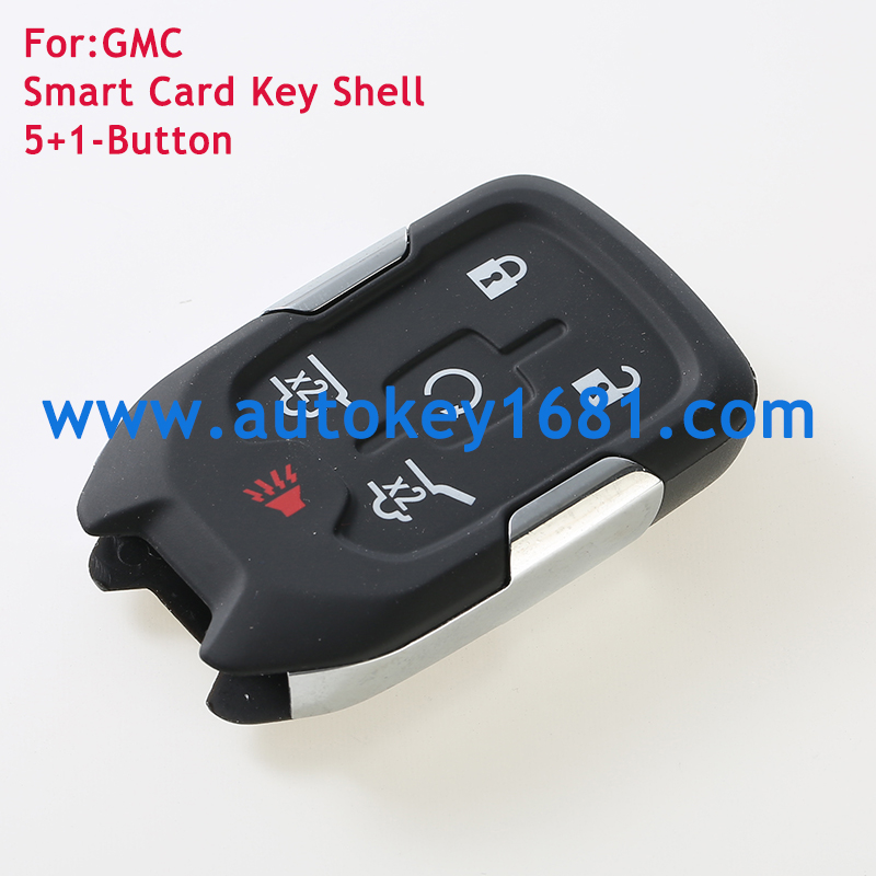 5 +1Buttons Replacement Smart Remote Key Shell Fix For GMC FOB Car Blanks Case with Smart Emergency Key Blade