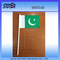 Pakistan hand flag , Pakistan 10-15cm hand waving flag ,Pakistan mini flag with black flagpole