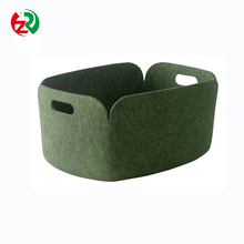 2018 popular foldable big home storage bag customized wool felt firewood basket for sundries