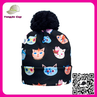 factory direct wholesale custom 3D print cartoon animal kittens adult beanie hats with balls on top