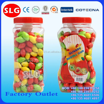 Colorful Olive Shaped Bubble Gum in Jar