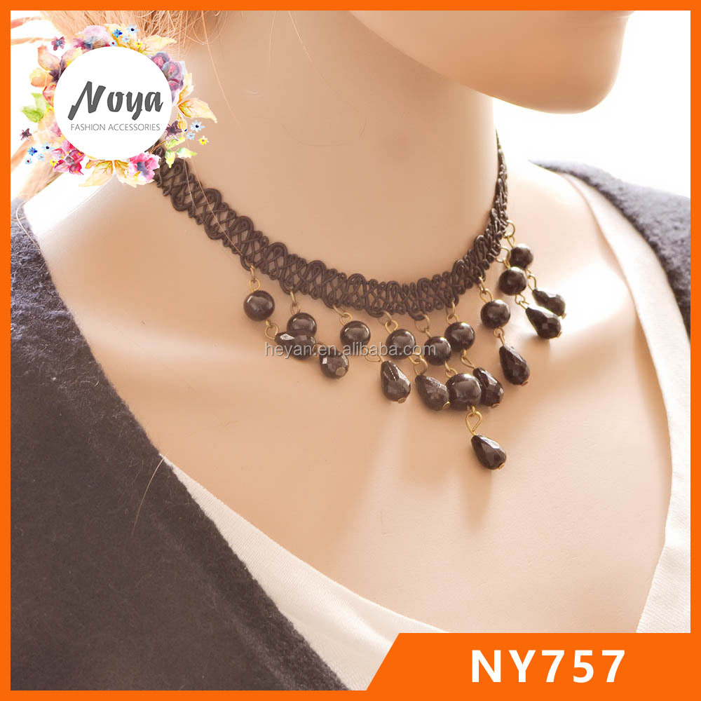 Handmade crochet lace necklace with black beads wholesale