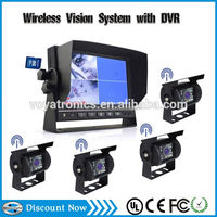 4 Camera 7' LED Backlight 800*480 HD 2.4Ghz Digital Wireless Rear View Camera System for Bus,Caravan,Truck,Trailer,Tractor