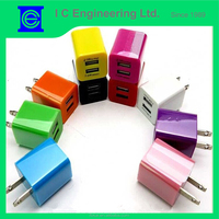 Multicolor ABS case car charger for iPhone 6s USB wall charger