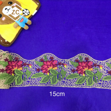 Acceptable OEM service fancy lace borders handmade border embroidered lace for bridal dress